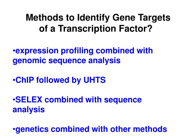Methods to Identify Gene Targets of a Transcription Factor?