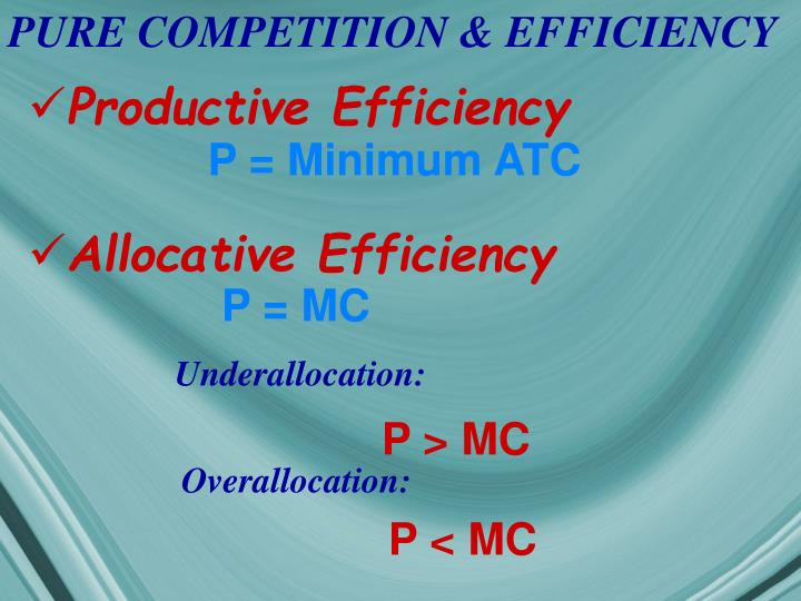 PURE COMPETITION & EFFICIENCY