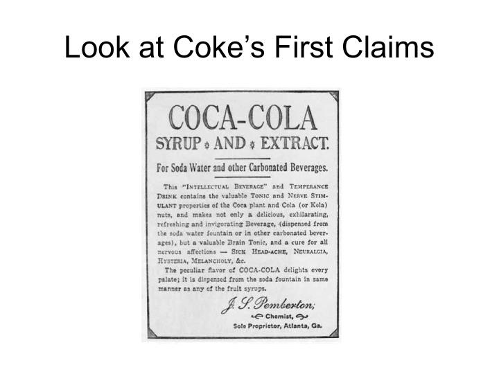 Look at Coke's First Claims