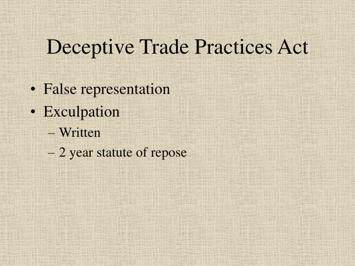 Deceptive Trade Practices Act