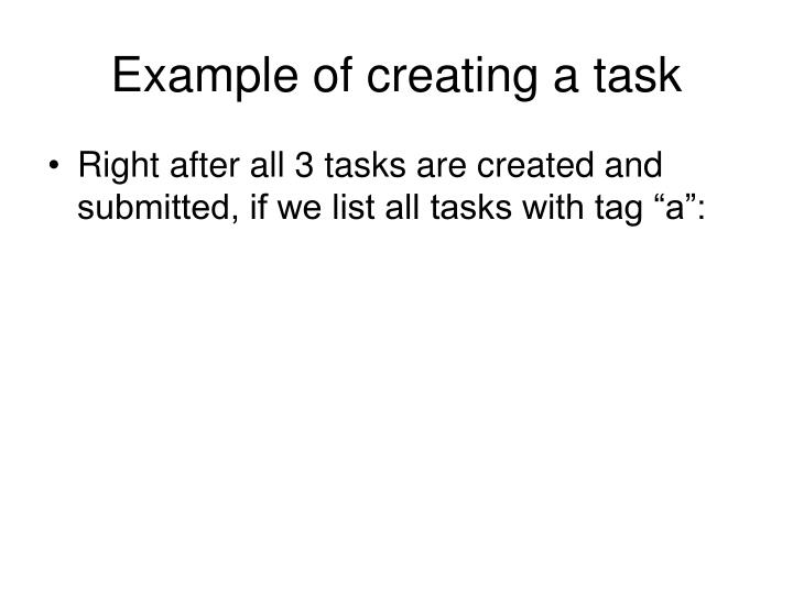 Example of creating a task