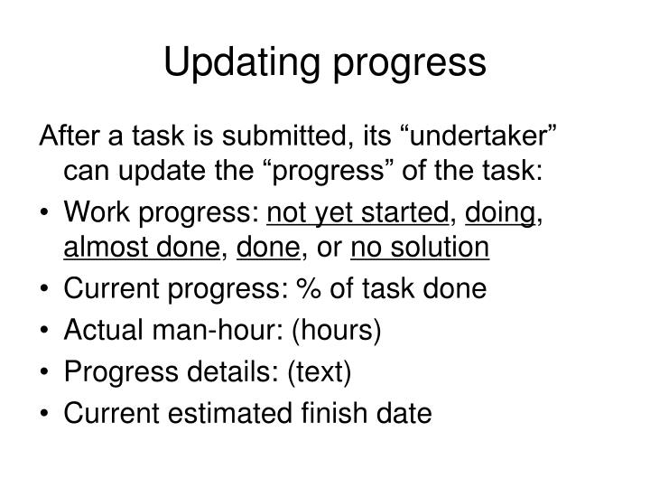 Updating progress