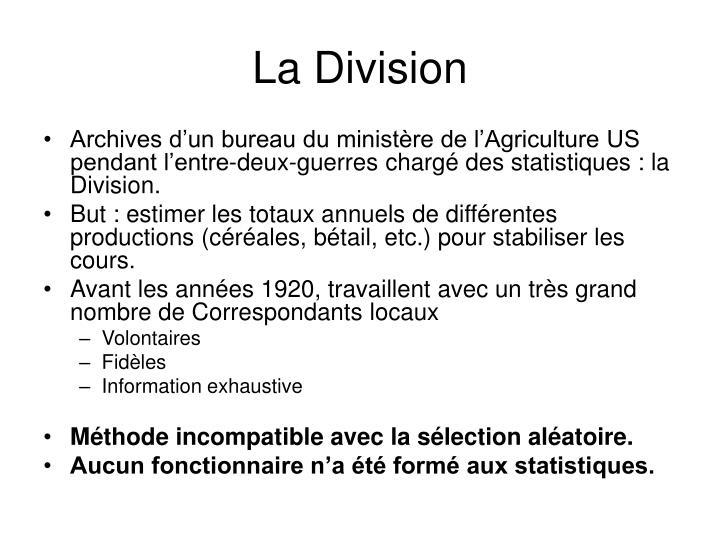 Archives d'un bureau du ministère de l'Agriculture US pendant l'entre-deux-guerres chargé des statistiques : la Division.