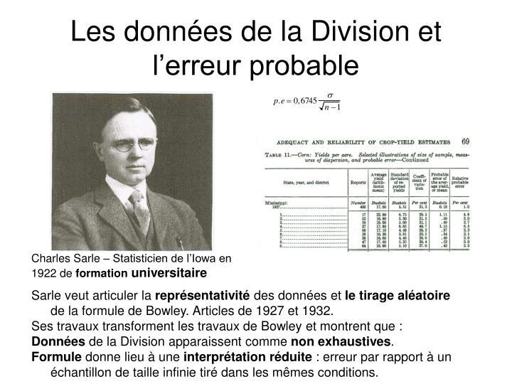 Les données de la Division et l'erreur probable