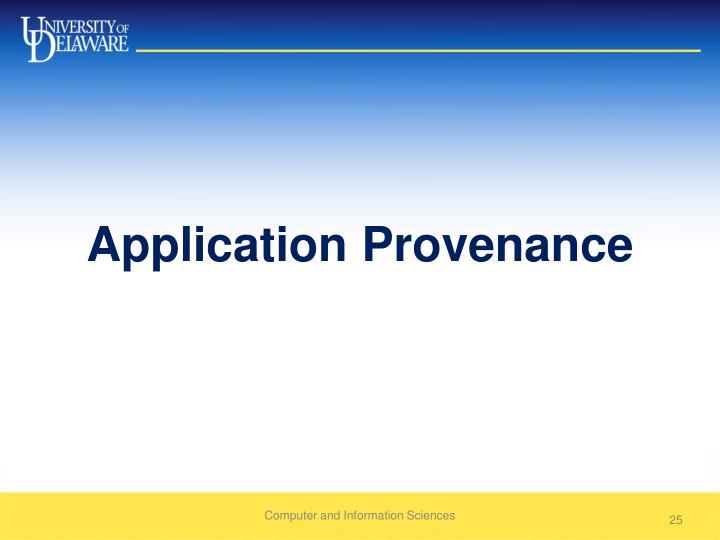 Application Provenance