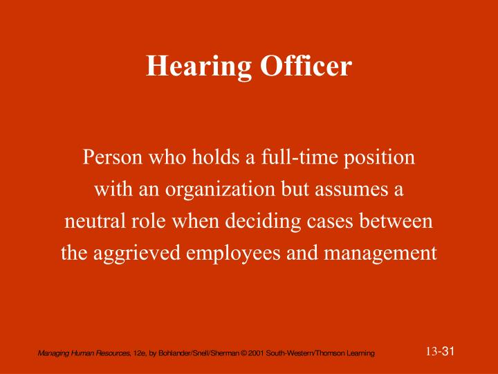Hearing Officer