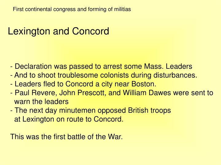 First continental congress and forming of militias