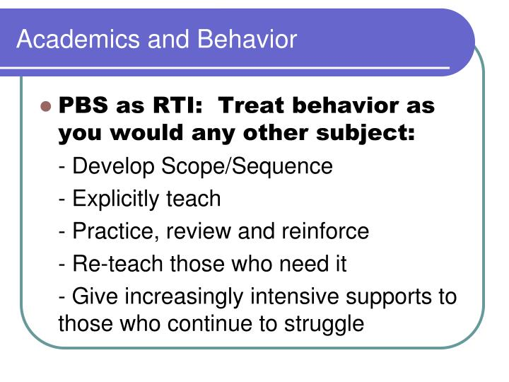 Academics and behavior