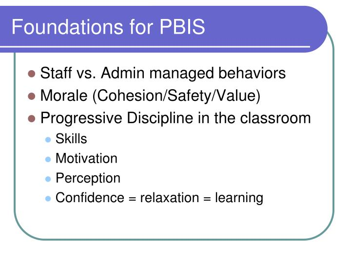 Foundations for PBIS