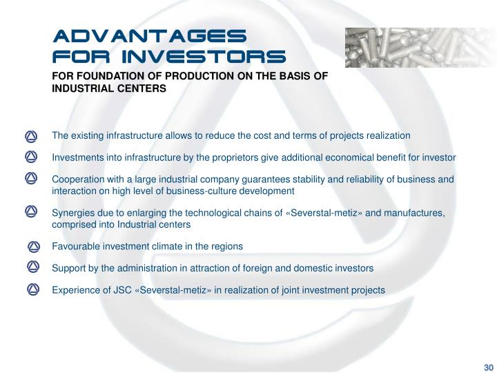 Advantages for investors