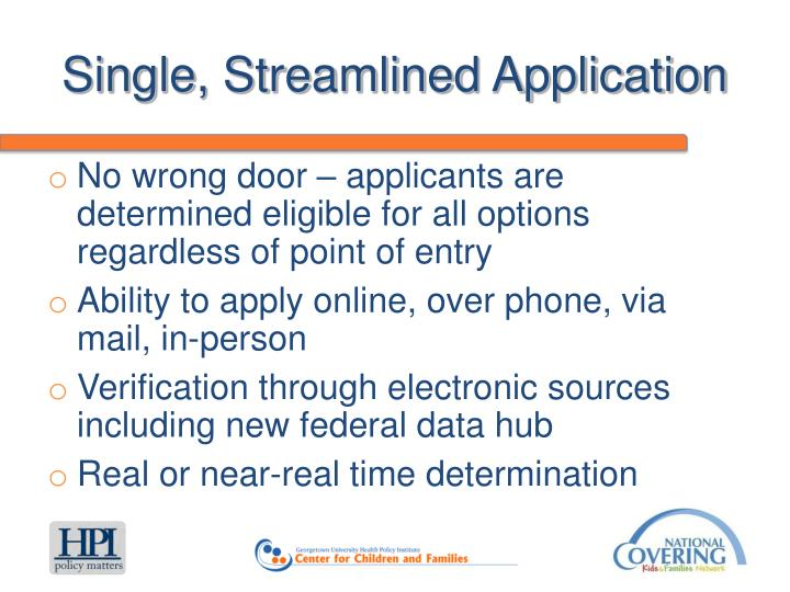 Single, Streamlined Application