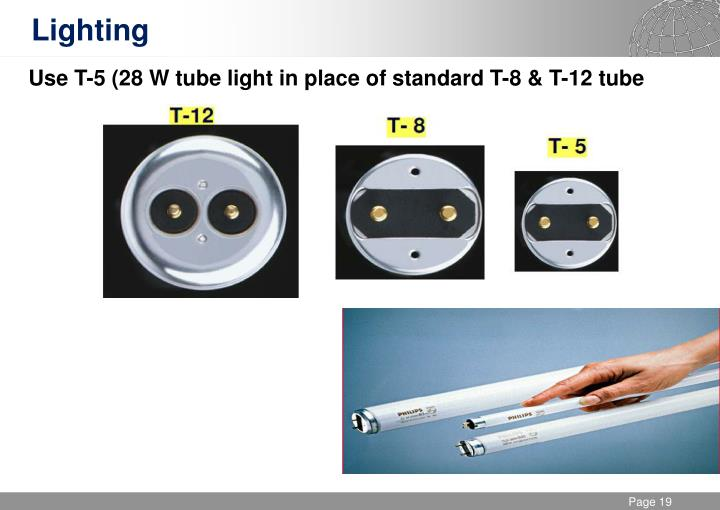 Use T-5 (28 W tube light in place of standard T-8 & T-12 tube