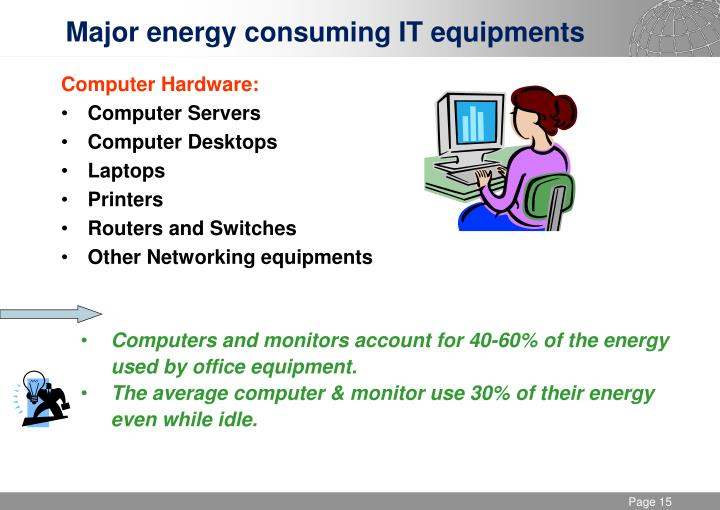 Major energy consuming IT equipments