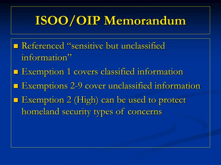 ISOO/OIP Memorandum