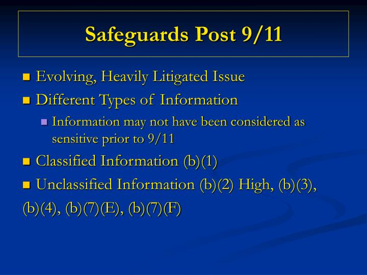 Safeguards Post 9/11