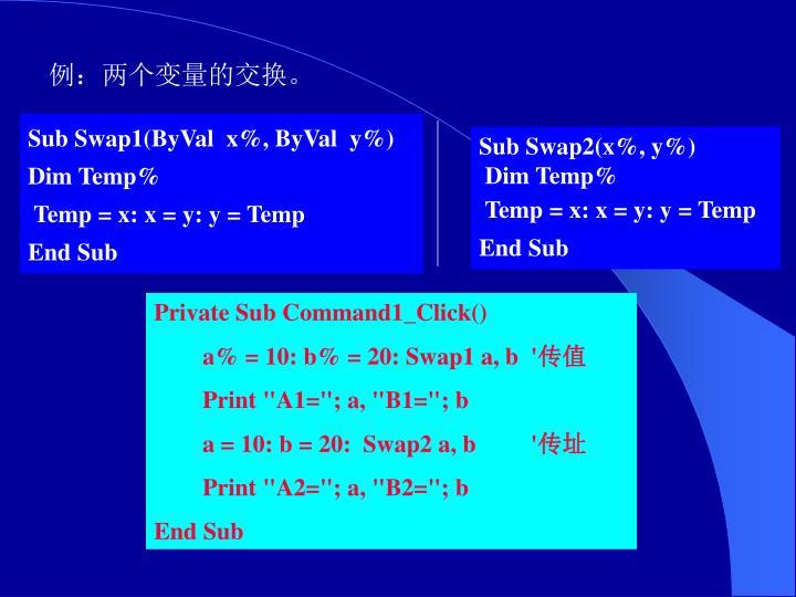 例:两个变量的交换。
