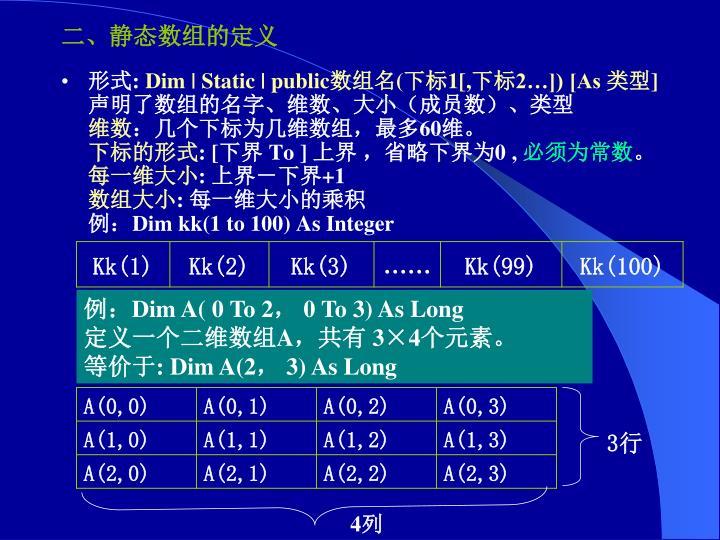 二、静态数组的定义