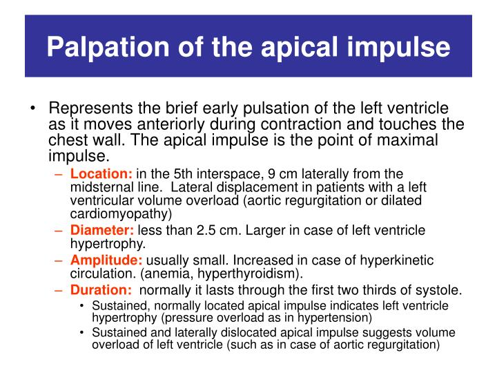 Palpation of the apical impulse
