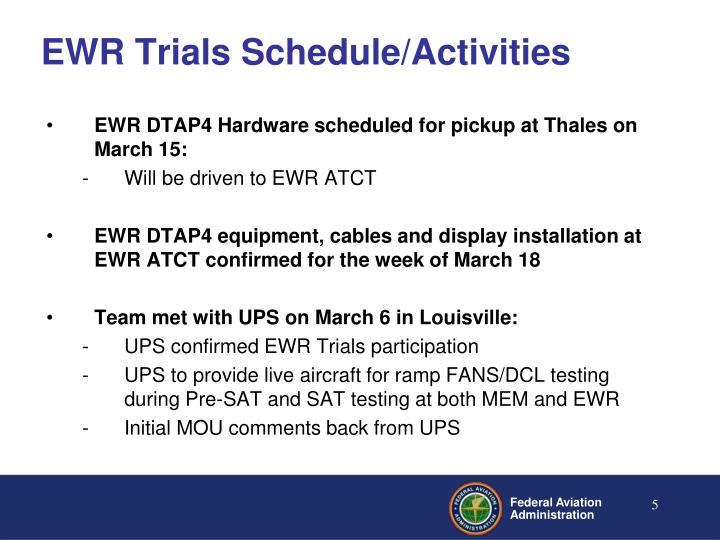 EWR Trials Schedule/Activities