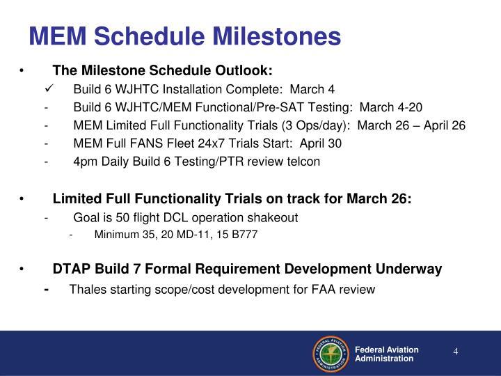 MEM Schedule Milestones