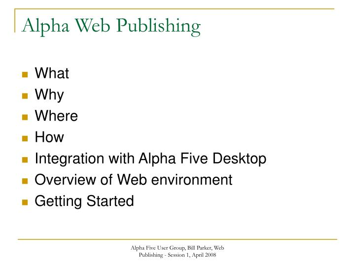 Alpha web publishing