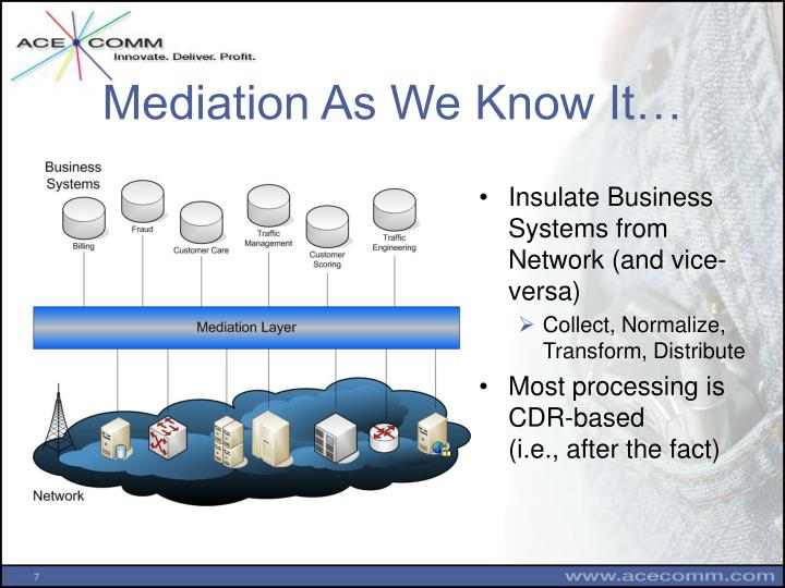 Mediation As We Know It…