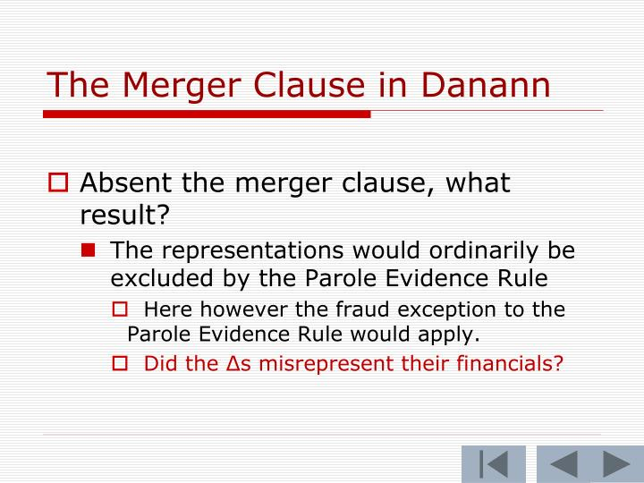 The Merger Clause in Danann