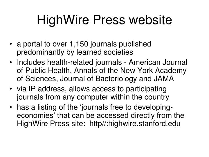 HighWire Press website