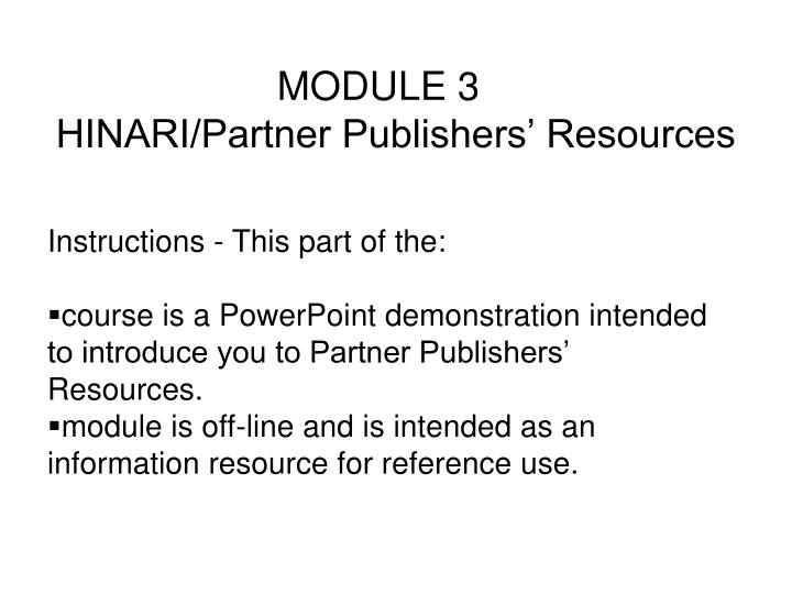 Module 3 hinari partner publishers resources