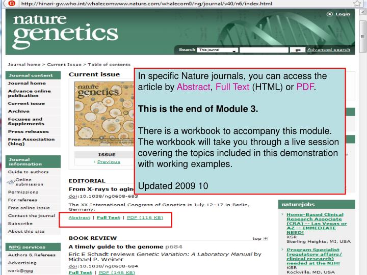 In specific Nature journals, you can access the article by