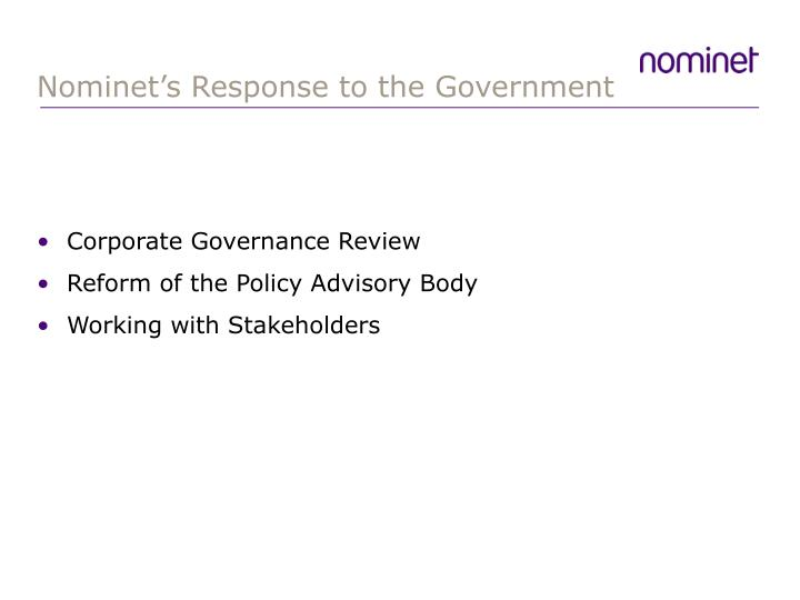 Nominet's Response to the Government