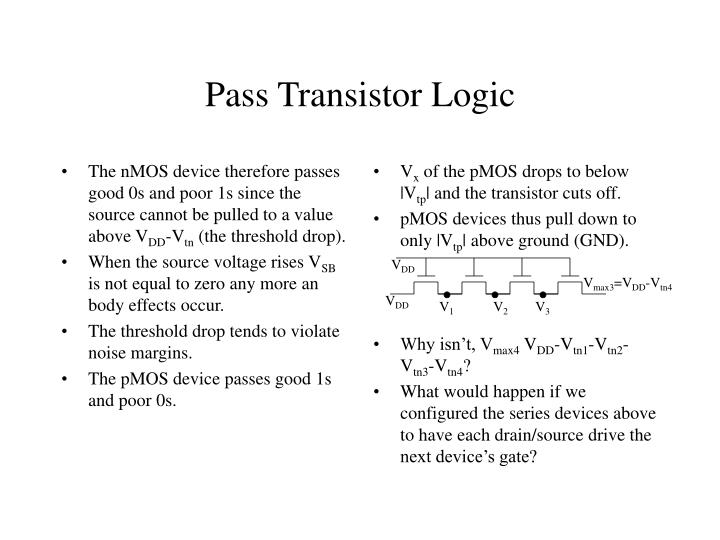 The nMOS device therefore passes good 0s and poor 1s since the source cannot be pulled to a value above V