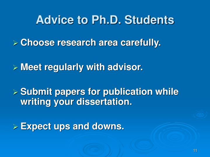 Advice to Ph.D. Students