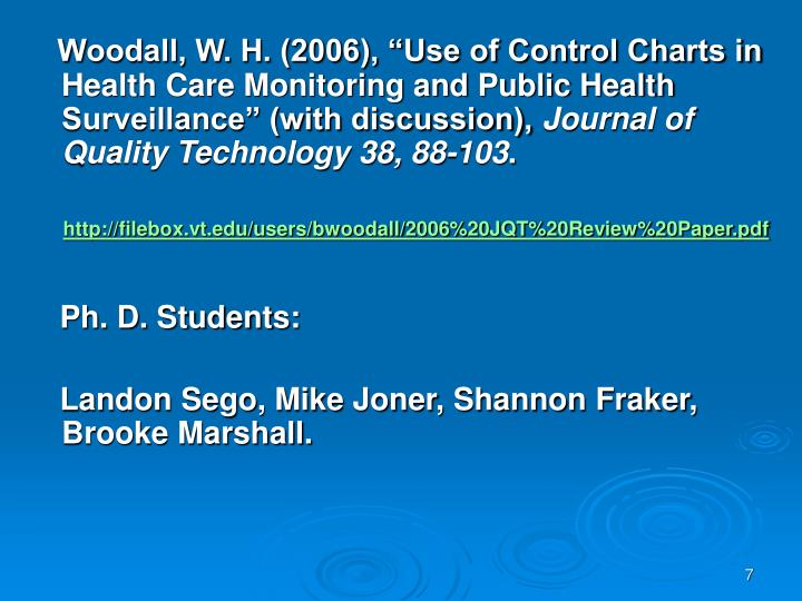 "Woodall, W. H. (2006), ""Use of Control Charts in Health Care Monitoring and Public Health Surveillance"" (with discussion),"
