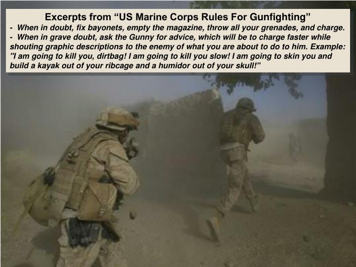 "Excerpts from ""US Marine Corps Rules For"