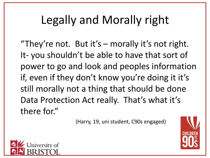 Legally and Morally right