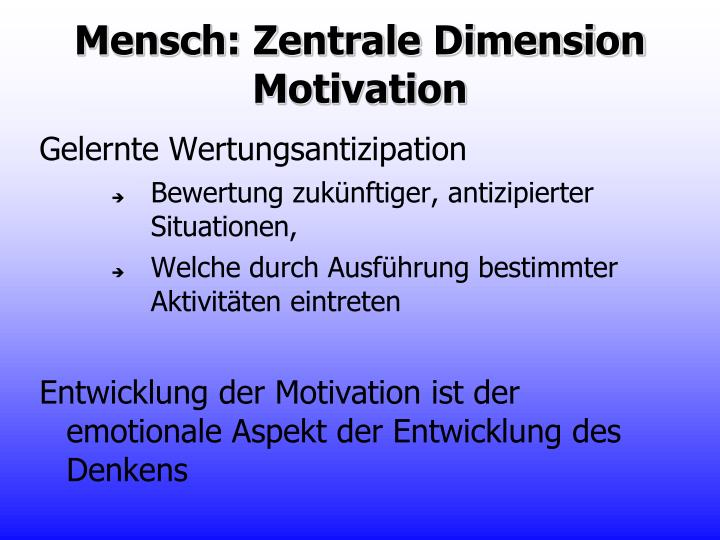 Mensch: Zentrale Dimension Motivation