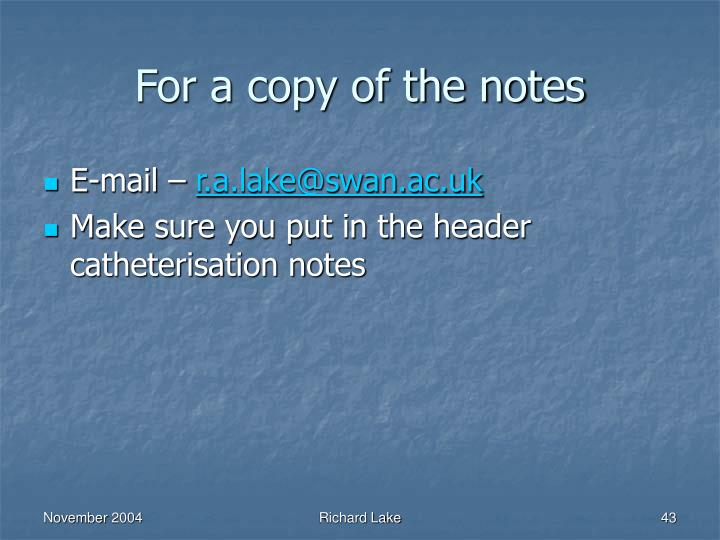 For a copy of the notes