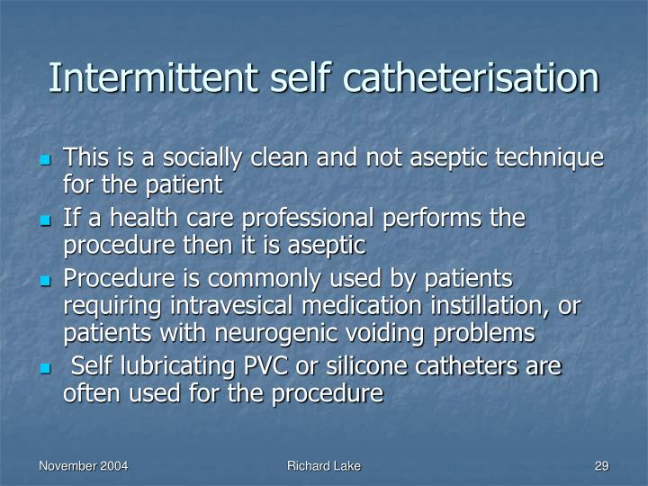 Intermittent self catheterisation