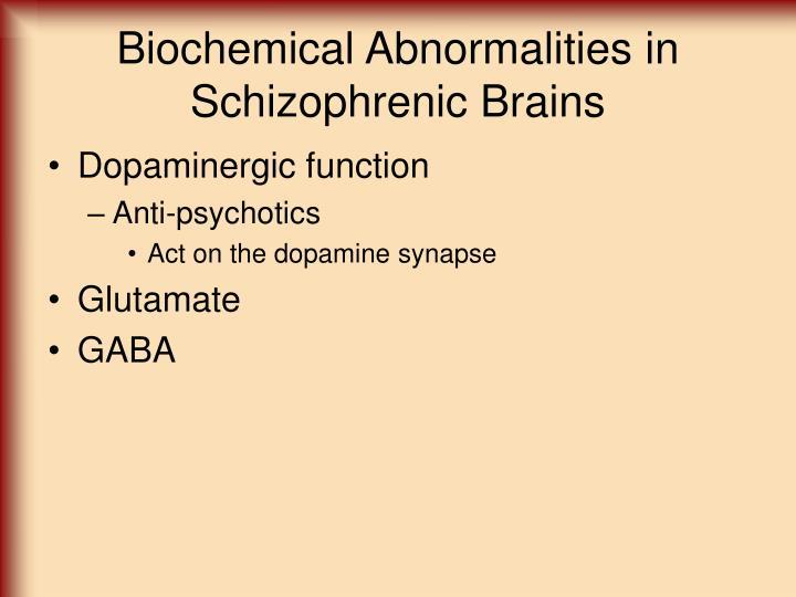 Biochemical Abnormalities in Schizophrenic Brains