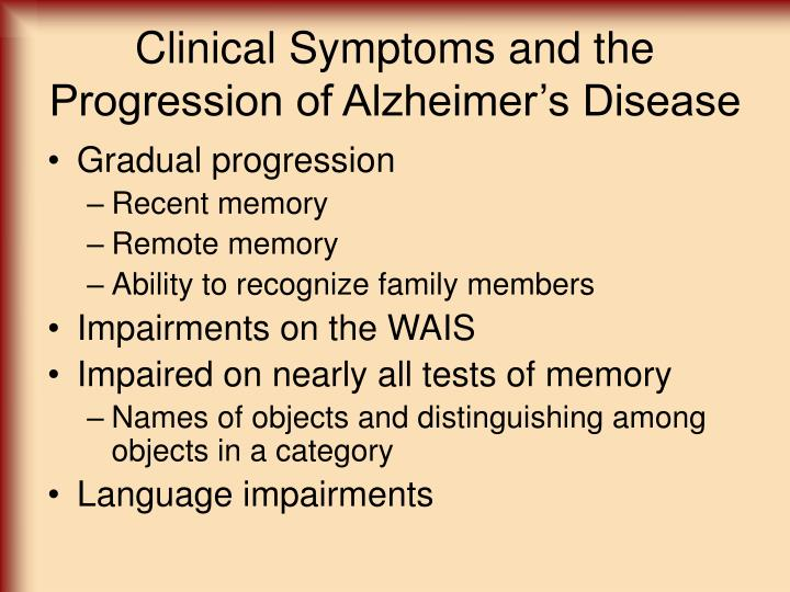 Clinical Symptoms and the Progression of Alzheimer's Disease