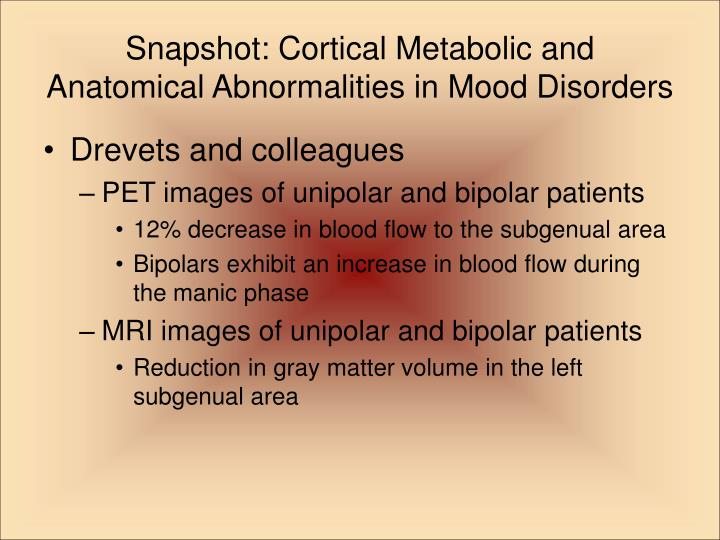 Snapshot: Cortical Metabolic and Anatomical Abnormalities in Mood Disorders