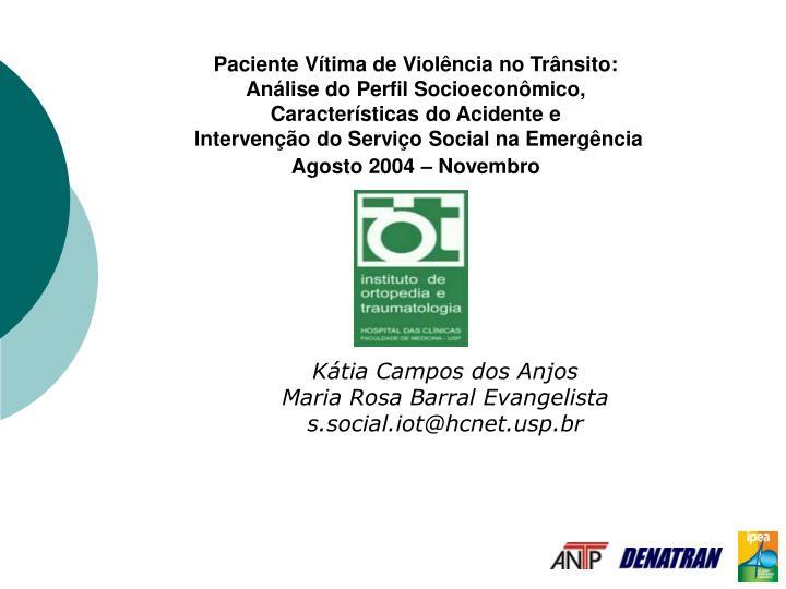 Paciente Vítima de Violência no Trânsito: