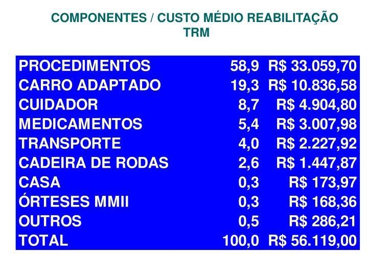COMPONENTES / CUSTO MÉDIO REABILITAÇÃO
