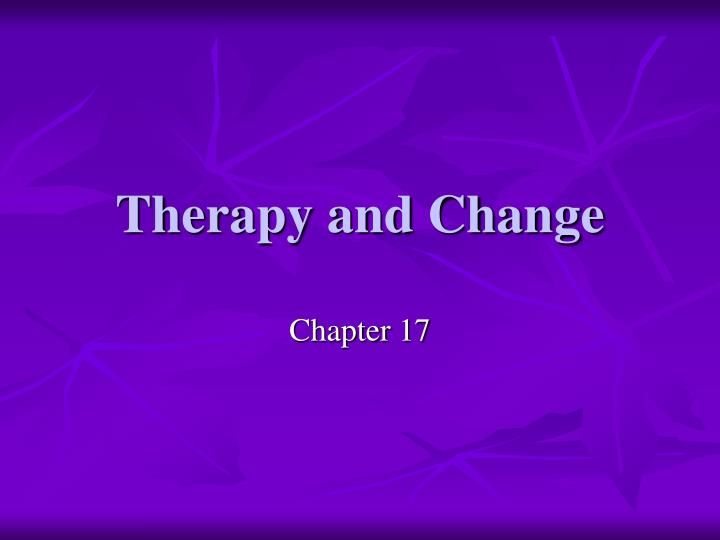 Therapy and Change