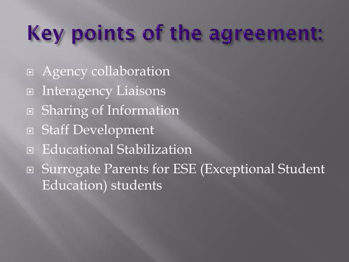 Key points of the agreement: