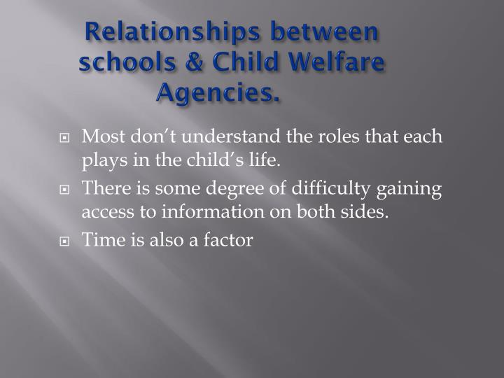 Relationships between schools & Child Welfare Agencies.