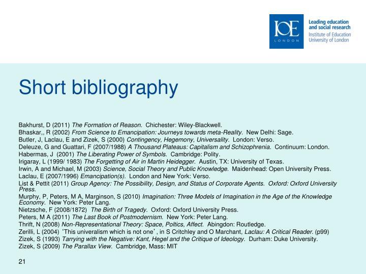 Short bibliography