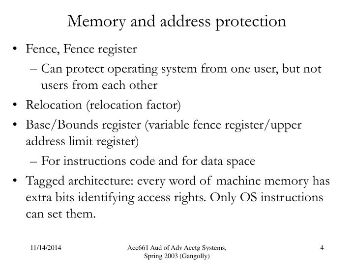 Memory and address protection