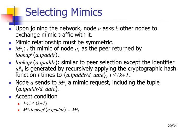Selecting Mimics